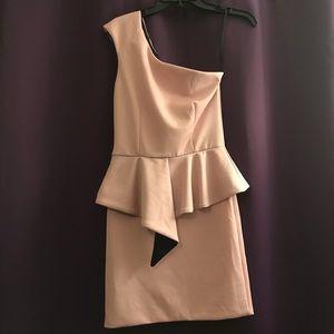 Soft Pink Peplum One Shoulder Dress